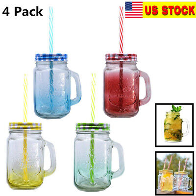 Pack of 4 Mason Jar Mugs with Handle Tin Lid and Plastic Straws 16 Oz Each](Mason Jar With Straw)