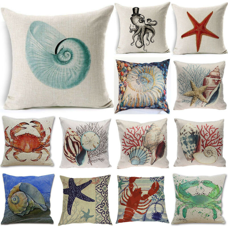 Details About Home Decor Decorative Throw Pillow Cover Beach Ocean Seaside Coastal Pillowcase