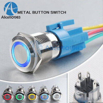 12v 19mm Waterproof Metal 5pin On-off Lock Car Led Push Button Switch Connector