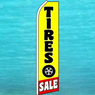 TIRES SALE FLUTTER FLAG Tall Curved Top Advertising Feather Swooper Banner