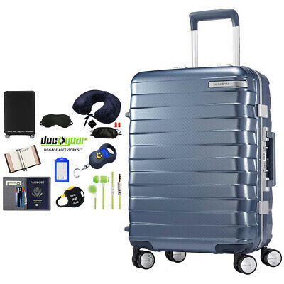 "Samsonite Framelock Hardside Carry On Luggage w/ Wheels 25"" Blue + Accessory Kit"