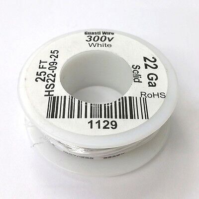 Hs22-09-25 22awg White Pvc Insulated Solid 300 Volt Hook-up Wire 25 Roll