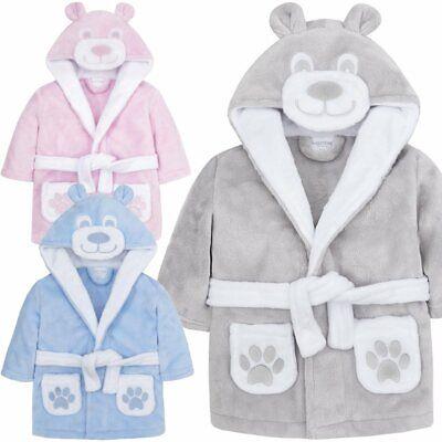 Baby Kinder Bademantel mit Kapuze 3D Motiv Teddy Soft Jungen Mädchen 6-24 Monate