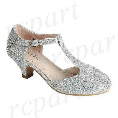 New girl's kids beads formal dress wedding shoes Silver rhinestones wedding - Girls Silver Shoes