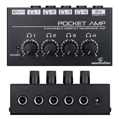 SOUNDSATION POCKET AMP mini amplificatore per cuffie a 4 canali preamp noiseless