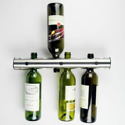 8 Holes Stainless Steel Wine Wisky Holder Bottle Stand Rack Bar Wall Mounted -