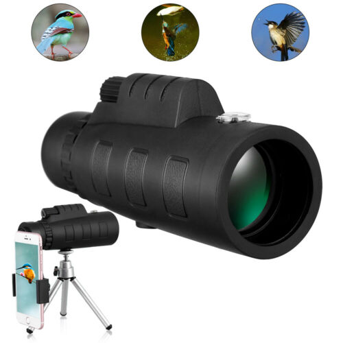 50x60 Zoom Monocular Telescope HD Spotting Scope with Clip Tripod for Smartphone