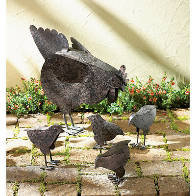 ~5 PC Set! Country Hen With Chicks Sculpture Patio Garden Decor Chicken Yard Art