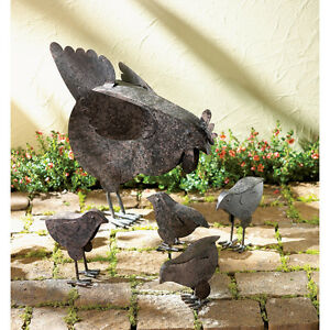Country Hen With Chicks Sculpture Patio Garden Decor Chicken Yard Art
