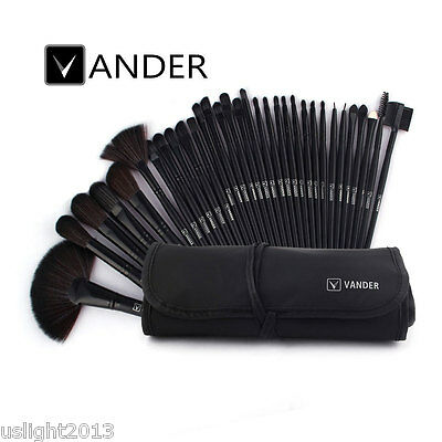 Vander 32pcs Professional Soft Cosmetic Eyebrow Shadow Makeup Brush Set Kit Case