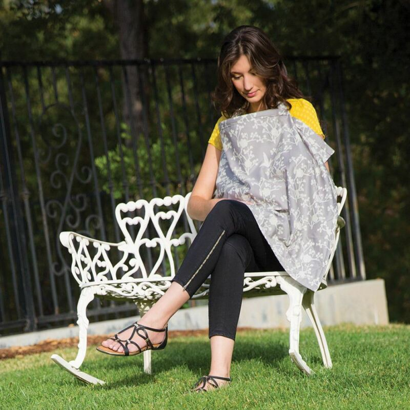 Bebe au Lait Premium Cotton Gray Nursing Cover, Breastfeeding Blanket, New Nest