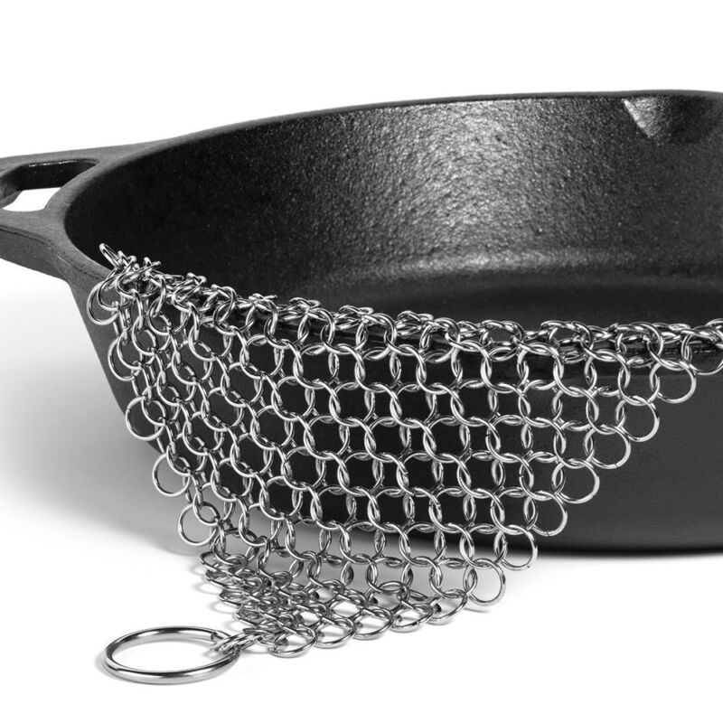 Ringer Stainless Steel Big Chain Mail Cast Iron Skillet Clea