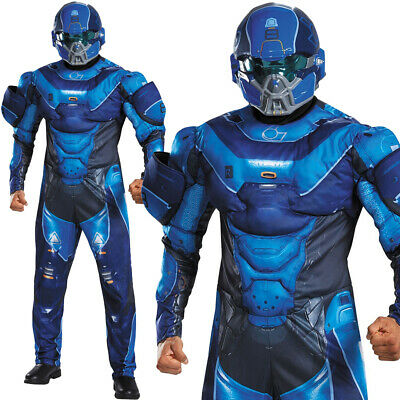 MENS BLUE HALO SPARTAN LOCKE COSTUME DELUXE MUSCLE CHEST COMIC CON FANCY - Blue Spartan Kostüm