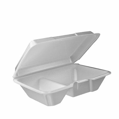 Dart 205HT2, 9x6x3-Inch Two Compartment Foam Containers with Hinged Lid, -