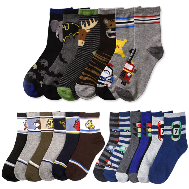 12 Pairs Assorted Boys Socks Size Ages 6-8 Years Kids Casual Sport Wholesale Lot