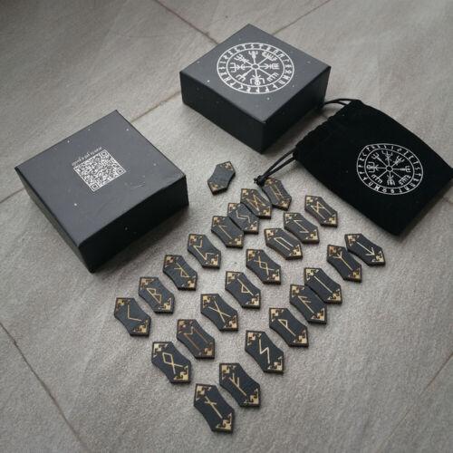 24Pcs Black Tumbled Engraved Lettering Rune Stones Healing Wicca Chakra Set USA
