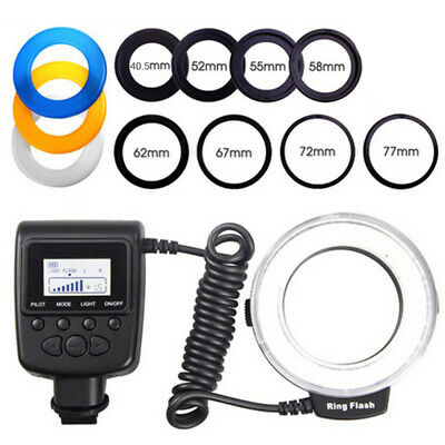 LED Macro Ring Flash Light for Nikon Canon Olympus DSLR Camera + 8 Lens Adapter
