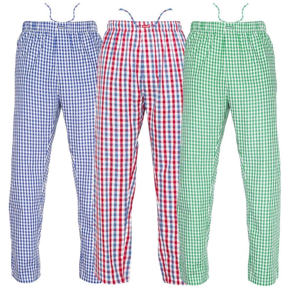 Youth/Boys (12-14) Pajama Pants 100% Cotton Plaid Woven Poplin – 3 Pack Clothing, Shoes & Accessories