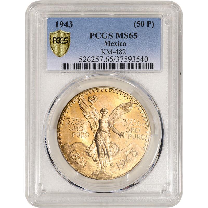 1943 Mexico Gold 50 Pesos - PCGS MS65 KM-482