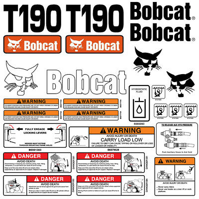 Bobcat T190 Turbo Skid Steer Set Vinyl Decal Sticker - Made In Usa- 25 Pc Set