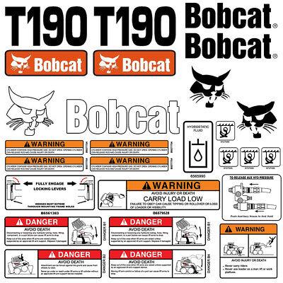 Bobcat T190 Turbo Skid Steer Set Vinyl Decal Sticker - Made In Usa- 25 Pc Set
