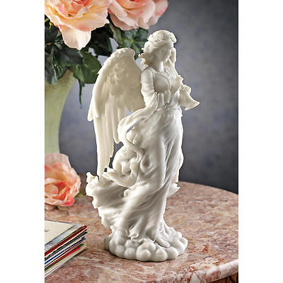 Italian Baroque Sculpture - Italian Baroque Style Trumpeting Angel Bonded Marble Sculpture Heavenly Statue