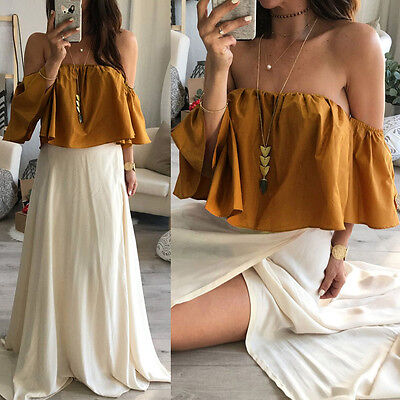 Women Girl Summer Sexy Off-Shoulder Short Tops Casual Loose Daily Party T-Shirt