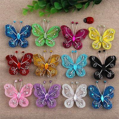 20/50Pcs Organza Butterfly Craft Wedding Party Decoration 12 Colors 2