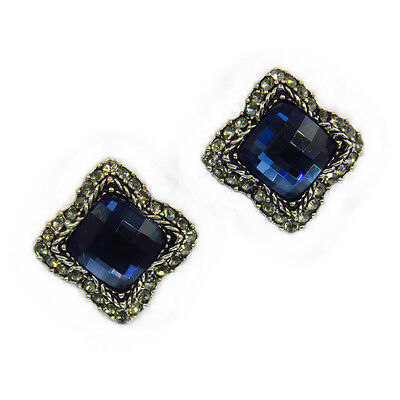 Square Classic Fashion Stud Pierced Earrings Repro Jewelry Sapphire Blue Crystal