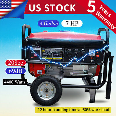 Portable 4400w Gasoline Gas Generator Emergency Home Back Up Power Air-cooled