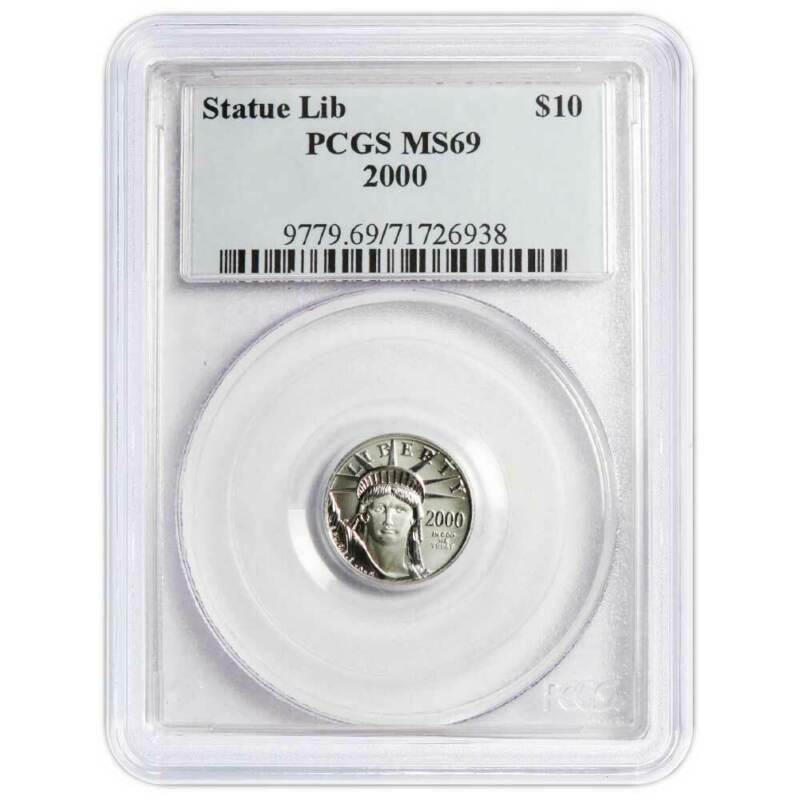 2000 UNC $10 American Platinum Eagle 1/10 oz PCGS MS69