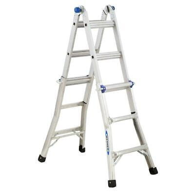 Werner 14 Ft. Reach Aluminum Telescoping Multi-position Ladder With 300 Lbs. Ia