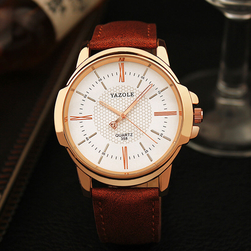 Men Luxury Stainless Steel Business Quartz Watch Leather Wrist Watches Y358
