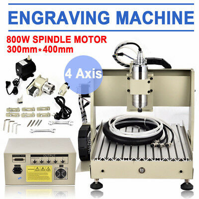 4 Axis 3040 800w Cnc Router Engraver Pcb Wood Diy 3d Cutting Milling Machine Kit