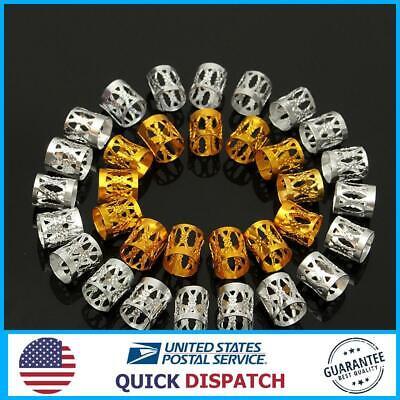 100Pcs 8mm Dreadlock Braiding Beads Braid Cuff Tubes Hair Clips Mixed Gold