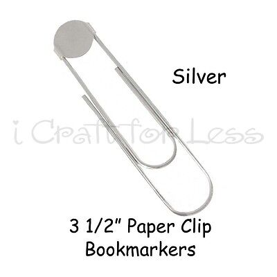 25 SILVER - Large Paper Clip Bookmarkers with Glue Pad - 3 1/2 Inch