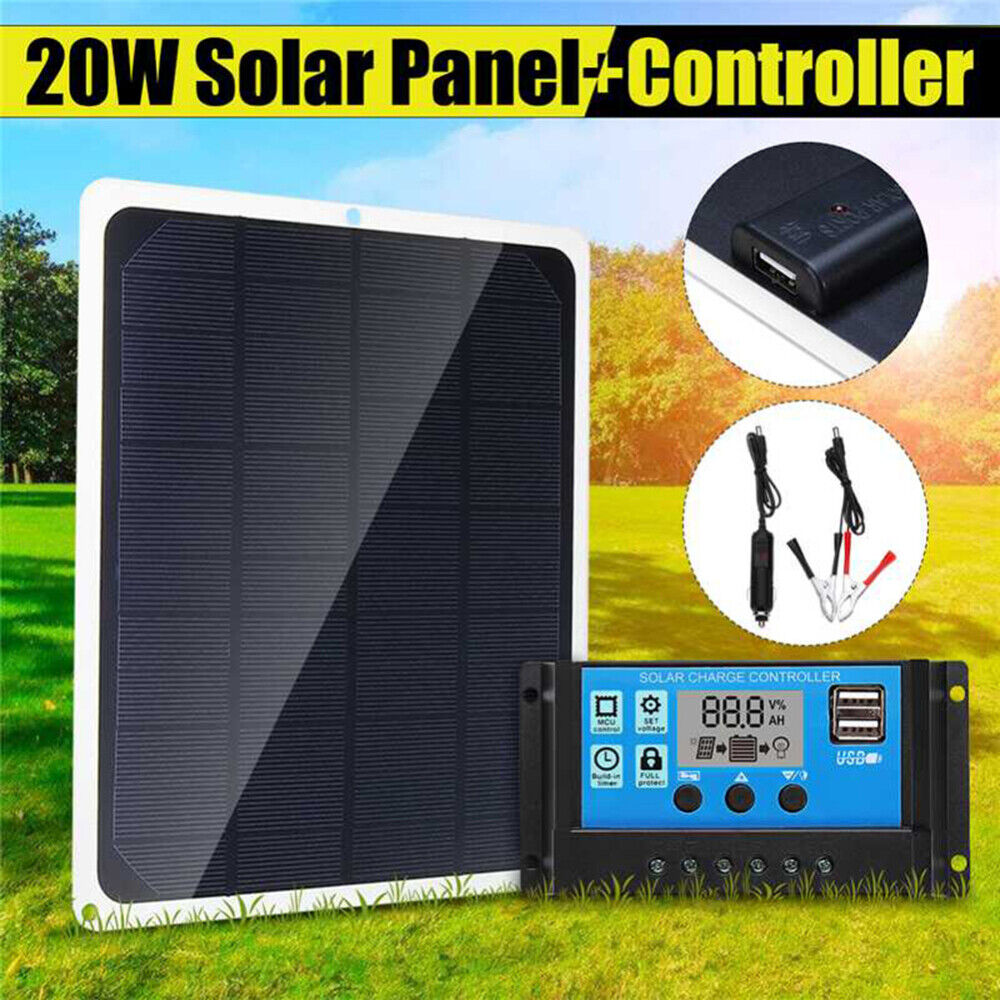 20W Solar Panel 12V Trickle Charge Battery Charger Kit Maintainer Marine RV Car