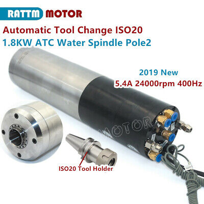 Iso20 Atc Spindle Motor 1.8kw Water Cooled Automatic Tool Change 220v 400hz 5.4a
