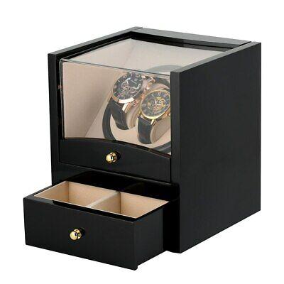 2+2 Dual Automatic Rotation Watch Winder Box Silent Motor Luxury Storage VK02