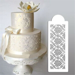 Damask Lace Border Cake Side Cupcake Stencil Sugarcraft Decors Baking Mold Tool