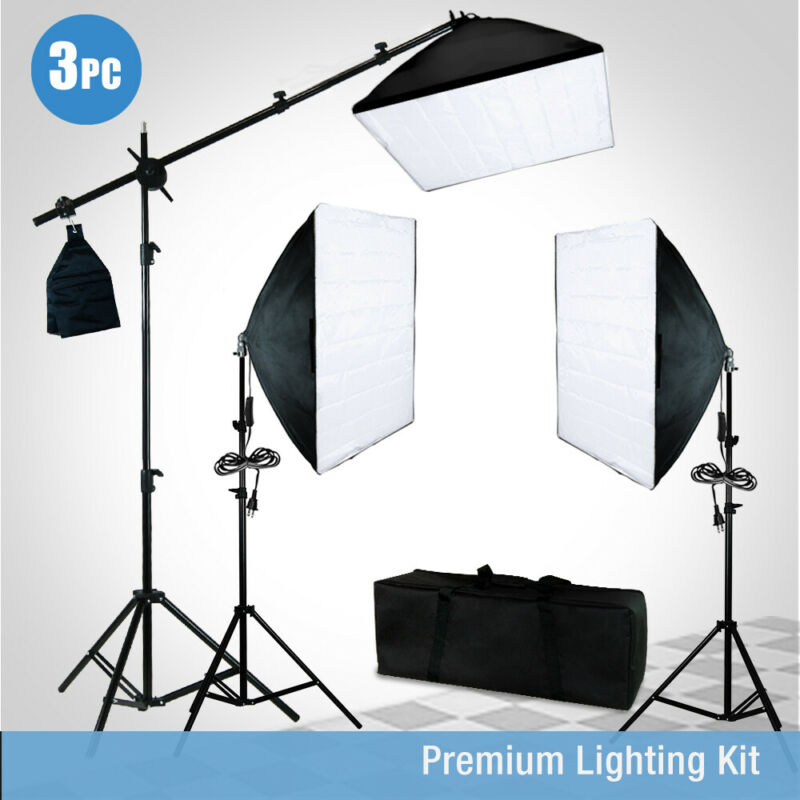 Photo Studio Photography 3 Softbox Light Stand Continuous Lighting Kit
