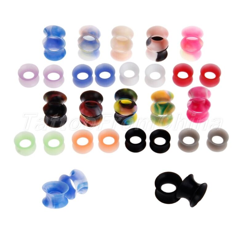 Rainbow/Pure Color Ear Tunnels Stretcher Cool for Men Women Thin 42pcs 2g 0g 00g