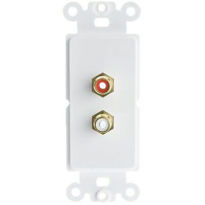 White Decora Wall Plate Insert RCA Stereo, Red/White  301-2002 Wall Plate Insert
