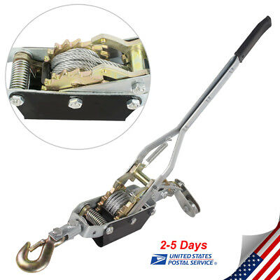 Usa4 Ton Hand Come A Long Winch Power Puller Hoist Pulling Pull Wire Cable New