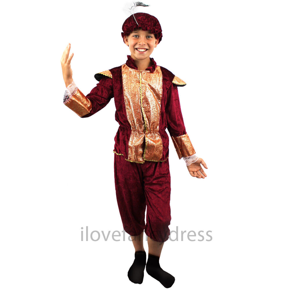 BOYS TUDOR MEDIEVAL RENAISSANCE PRINCE FANCY DRESS COSTUME