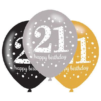 6 X 21st Geburtstag Ballons Schwarz Silber Gold Party Dekoration Alter 21