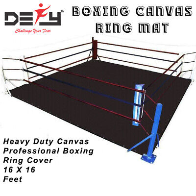 DEFY BOXING PROFESSIONAL RING MAT HEAVY DUTY CANVAS COVER MMA JUDO 16 FT -