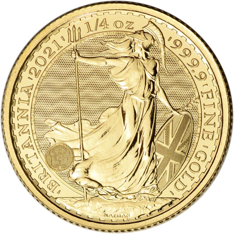 2021 Great Britain Gold Britannia £25 - 1/4 oz - BU