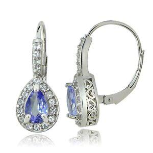 Sterling Silver 1.6ct Tanzanite & White Topaz Teardrop Leverback Earrings