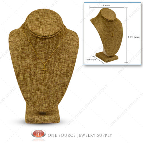 "Burlap Necklace Display Pendant Neck Form Jewelry Presentation Display 6 1/4""H"